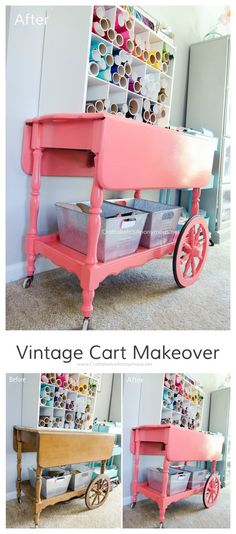 Stunning Vintage Bar Cart Makeover using glossy coral paint. She uses it in her craft room to store vinyl and ribbon.