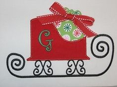 Christmas Sleigh Applique - 3 Sizes! | Christmas | Machine Embroidery Designs | SWAKembroidery.com Applique Cafe