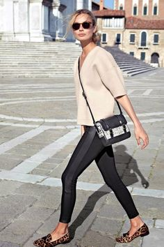 We recently came across this J. Crew catalog look from 2013 and with the resurgence of leggings we felt inspired to recreate it this season. The polished look consists of a minimal shell top, a crossbody bag, leggings and leopard print loafers. Such a great travel or weekend outfit!
