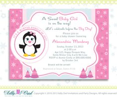 Pink Snowflake Penguin Girl Baby Shower by adlyowlinvitations, $14.00