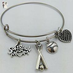 Softball Bracelet, I love Softball, softball mom, bangle bracelet, charm bracelet, softball, basketball Bangle, softball love, Valentines gift for mom - Wedding bracelets (*Amazon Partner-Link)