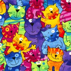 funny colourful cats flannel fabric Timeless Treasures USA