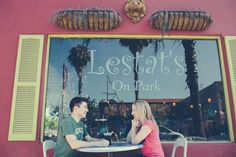 Ben and Robin having a coffee at their favorite coffee shop.  fonyatweddings.com