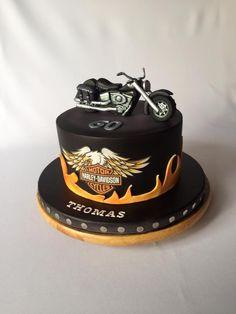Harley Davidson cake - cake by Layla A Elegant Birthday Cakes, Birthday Cakes For Men, Happy Birthday Cake Topper, Cakes For Boys, Birthday Cupcakes, Torta Harley Davidson, Harley Davidson Birthday, Motorcycle Birthday Cakes, Motorcycle Cake