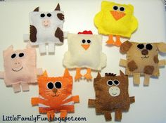 Square Felt Animals. P could sew them. They could also be left empty and open at the bottom for puppets.