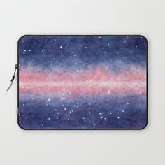 Watercolor Space Laptop Sleeve #faerieshop #watercolor #space #galaxy #universe #stars #painting #cosmos #purple #night #cosmic #starry #milky #way #art #society6 #accessories