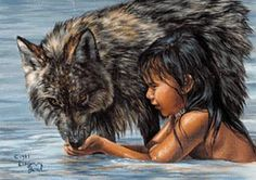 Oil painting of native american boy and wolf