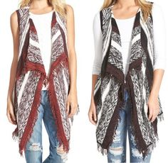 Fall Fashion - sleeveless cardigan with distressed jeans