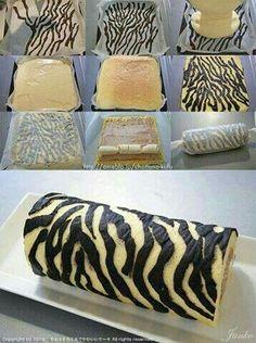 How to make a Zebra Cake Roll - Tutorial, animal print, zebra, rocambole zebra, brazo de gitano Zebra Cakes, 3d Cakes, Swiss Roll Cakes, Cake Recipes, Dessert Recipes, Decoration Patisserie, Cake Decorating Tutorials, Decorating Supplies, Cake Tutorial