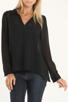 Olive & Oak Kalamata Solid Pullover Blouse In Black - Beyond the Rack
