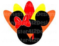 Thanksgiving Minnie Turkey DIY Printable Iron On Transfer Digital File