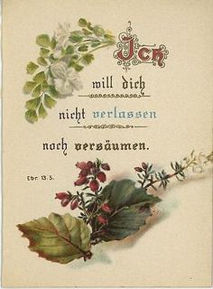 ANTIQUE-PIERIS-JAPONICA-FLOWERS-GERMAN-BIBLE-VERSE-GERMAN-CHROMO-MINIATURE-PRINT 'Never will I leave you neither will I forsake you'