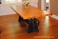 1940's Vintage Industrial Adjustable Dining/Conference Table with Reclaimed Wood Top on Etsy, $10,600.00