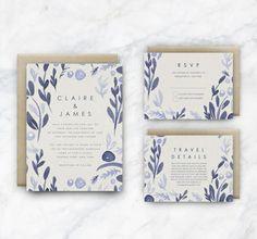 DIY Printable Wedding Invitation Template | INSTANT DOWNLOAD | Blue Watercolour…