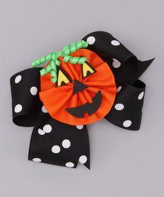 Black Polka Dot Bow & Orange Pumpkin Clip Picture Perfect Hair Bows