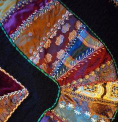 ღ ♥ ღ ♥  Periwinkle Quilting and Beyond: Crazy  HD: A very special border for a very special crazy quilt with wonderful handwork.