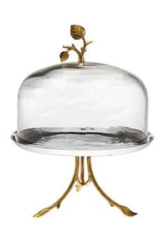 Okay, go with me. There's a whole set of pretty party things with the same leaf design! Leaf Design Footed Plate Glass Dome