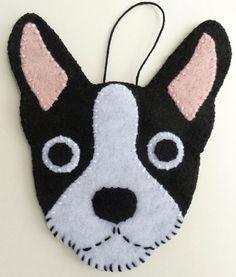 Boston Terrier Dog Plush Handmade Felt Wall Hanging by PlushBot, $9.00