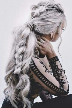 Trendy Fall Hair Colors: Your Best Autumn Hair Color Guide Woman with elaborate braid and silver hair Braided Hairstyles For Wedding, Pretty Hairstyles, Hairstyle Ideas, Style Hairstyle, Messy Hairstyles, Ladies Hairstyles, Bridal Hairstyles, Halloween Hairstyles, Updo Hairstyle