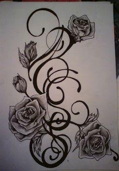 My drawing of a tattoo design for my friend Sami Jones. Rose Vine Tattoos, Rose Tattoo On Side, Black Rose Tattoos, Baby Tattoos, Side Tattoos, Body Art Tattoos, Tribal Tattoos, Foot Tattoos, Tatoos