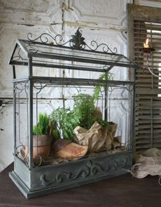 WANT IT :: Terrarium by Peacock Park Design. Love the way they styled this. I like how the top is open, so something like big fern leaves can hang out the top. Their items are sold at independent retailers across the country. Email them to find one near you.