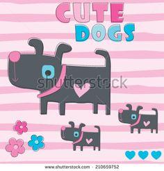 cute dogs vector illustration - stock vector