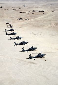 """"""" Apache advanced attack helicopters of the Airborne Division stand ready at a forward operating base during Operation Desert Storm. Three Kiowa Warrior helicopters are behind the. Us Military Aircraft, Military Helicopter, Military Jets, Military Weapons, Military Vehicles, Fighter Aircraft, Fighter Jets, Photo Avion, Ah 64 Apache"""