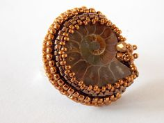 Check out Ring, Bead embroidery, Seed beads jewelry, Fashionable jewelry, Ammonite gemstone, Purple, Bronze, Swarovski on vicus