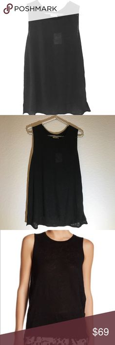 NWT! Vince linen Tank Stylish black linen muscle tank. New with tags. No trades Vince Tops Tank Tops
