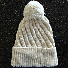 Off-White Spiral-Ribbed Hat with Pom Pom | SANDRAS ARTISTRY ALASKA (Click on image...)