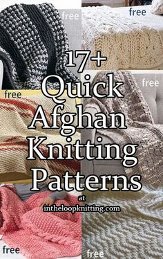 Quick Afghan Knitting Pattterns - Free Knitting Patterns - Quick Afghan Knitting Pattterns Knitting Patterns for Quick Afghans – The easy stitch repeats in super bulky or bulky yarn of these blanket and throw knitting patterns help make quicker projects. Dishcloth Knitting Patterns, Knitting Stitches, Knitting Yarn, Free Knitting, Knitted Afghans Patterns Free, Loom Knitting Blanket, Easy Knit Blanket, Finger Knitting, Afghan Crochet