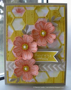 Nancy Lempinen-Leedy: Canopy Crafts – A Flower Shop Hive - 2/26/14 (SU: Hexagon Hive thinlit; Watercolor dsp. Flower Shop stamps. Pansy punch. Bird Punch (leaves). Punch pack (bitty flower).
