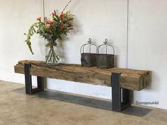 Industrieel tv meubel van een spoorbiels - kijk voor meer informatie even op onze website! | Boomstamwinkel