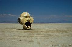 A head... out in deep playa. :') #burningman #art