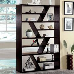 Kamloo Espresso Bookcase Modern Shelving Black Diy Furniture Office