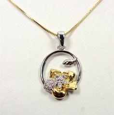 STERLING SILVER 14K GOLD VERMIEL ALOHA LUAU FLOWER WHITE STONES PENDANT NECKLACE