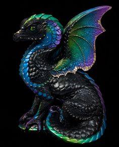 Spectral Dragon - Black Violet Peacock Painted Fantasy Figurine / Statue $172.00