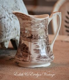 Vintage English Transferware Pitcher Brown by edithandevelyn on Etsy