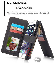 CaseMe iPhone 6S Plus/6 Plus Retro PU Leather Detachable 2 in 1 Wallet Folio Case