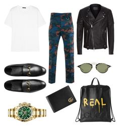 """S T R E E T"" by ricardocamacho on Polyvore featuring Givenchy, Gucci, AllSaints, Acne Studios, Rolex, men's fashion y menswear"