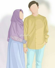 kumpulan kartun romantis parf 2 - my ely Love Cartoon Couple, Cute Love Cartoons, Cute Couple Art, Cute Muslim Couples, Cute Couples, Cover Wattpad, Muslim Images, Arte Indie, Islam Marriage