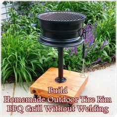 "Homemade Outdoor Tire Rim BBQ Grill Without Welding Homesteading  - The Homestead Survival .Com     ""Please Share This Pin"""