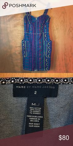 Marc by Marc Jacobs Aztec printed jean dress Marc by Marc Jacobs Aztec printed, denim, front zipper dress in size 2. This dress is adorable and was only worn once or twice in excellent condition. Marc by Marc Jacobs Dresses Mini