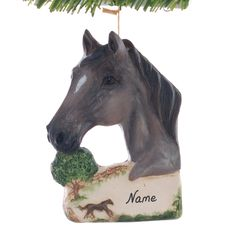 Horse Ornament personalized Christmas ornament for the horse lover in your life - Grulla Smokey Gray Horse - made in the USA (262) by Christmaskeeper on Etsy