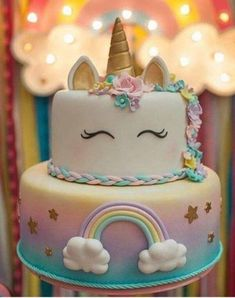 Magical Unicorn Kg, Our adorable and highly requested Unicorn cake.This cake is perfect for celebrating birthdays,baby showers or just because!Made of fondant in whole gives you choi Unicorn Themed Birthday, Girl Birthday, Cake Birthday, Savoury Cake, Cute Cakes, 1st Birthday Parties, Birthday Ideas, Birthday Party Centerpieces, Themed Parties