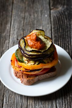 Grilled Veggie Sandwiches with Rhubarb BBQ Sauce by edibleperspective #Sandwich #Veggie