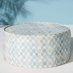 Anthropologie Mod Fret Clive Indoor/Outdoor Ottoman By Anthropologie in Blue Size ALL