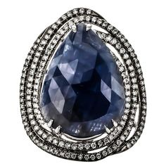 One of a Kind 9.80 Carat Sliced Blue Sapphire Diamond Gold Ring