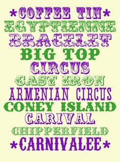 GARUFF: MORE CIRCUS FONTS.  ~~ {11 Free fonts w/ links}