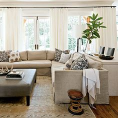 After: Neutral Update Den - Our Best Before and After Home Renovations - Southern Living- Moms living room My Living Room, Home And Living, Living Area, Living Room Decor, Living Spaces, Simple Living, Style At Home, Living Room Inspiration, Color Inspiration